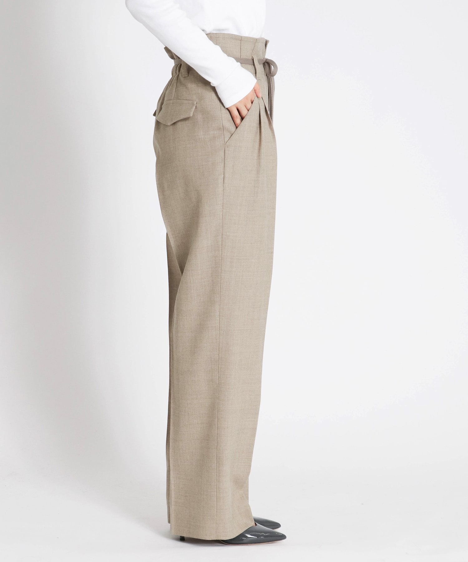 premium wool straight pants