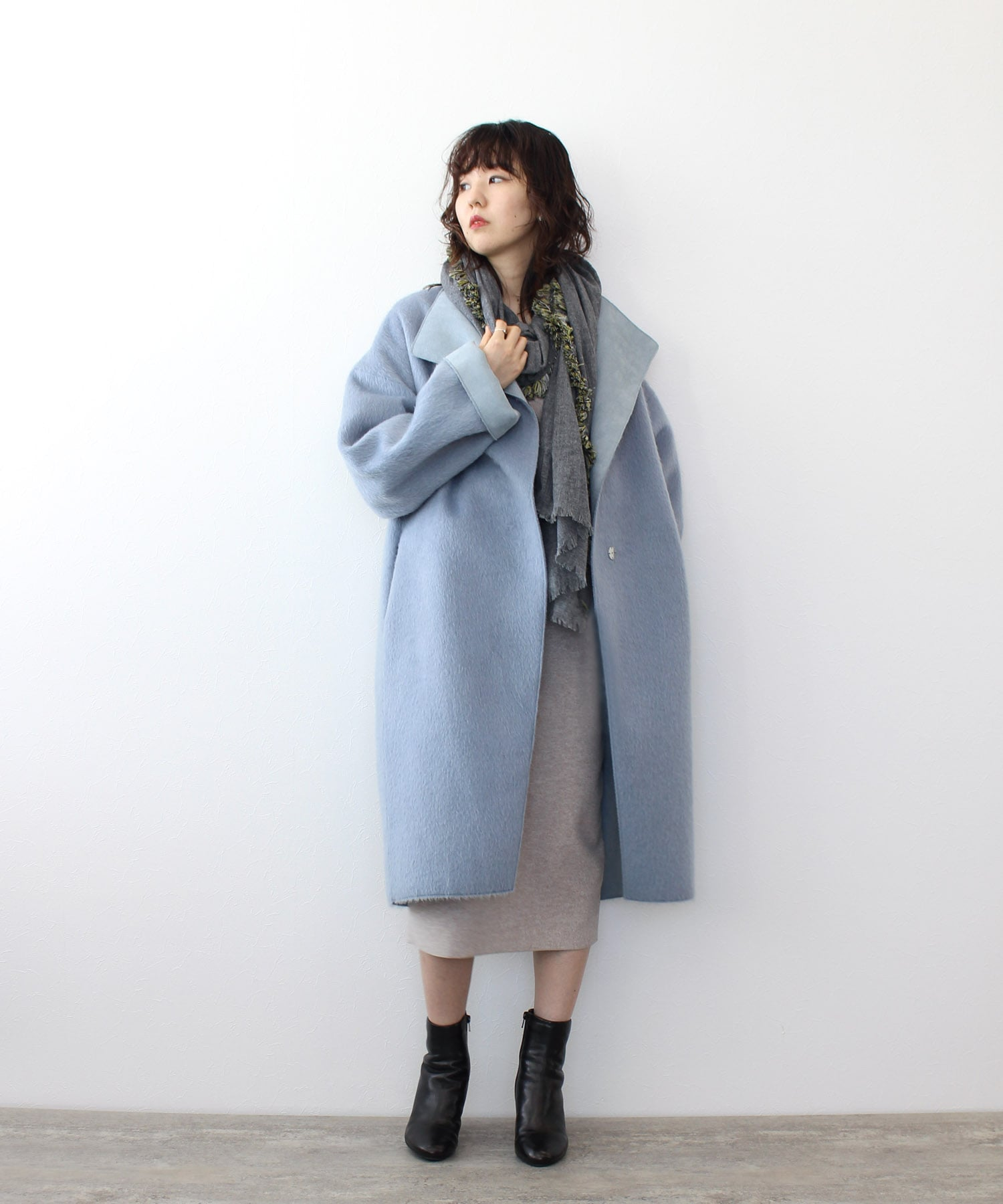 shaggy×suede bonding coat