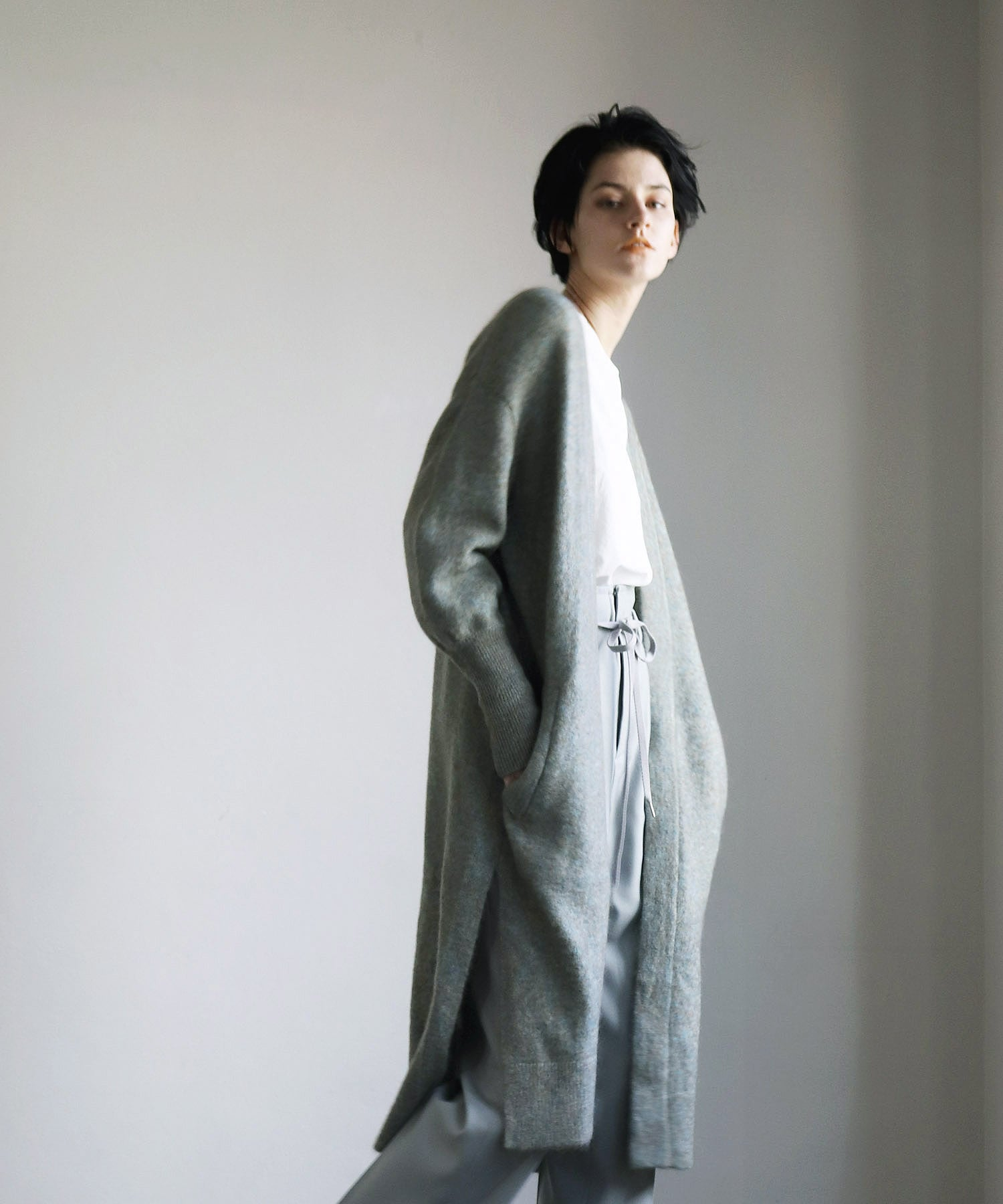 kid mohair long cardigan