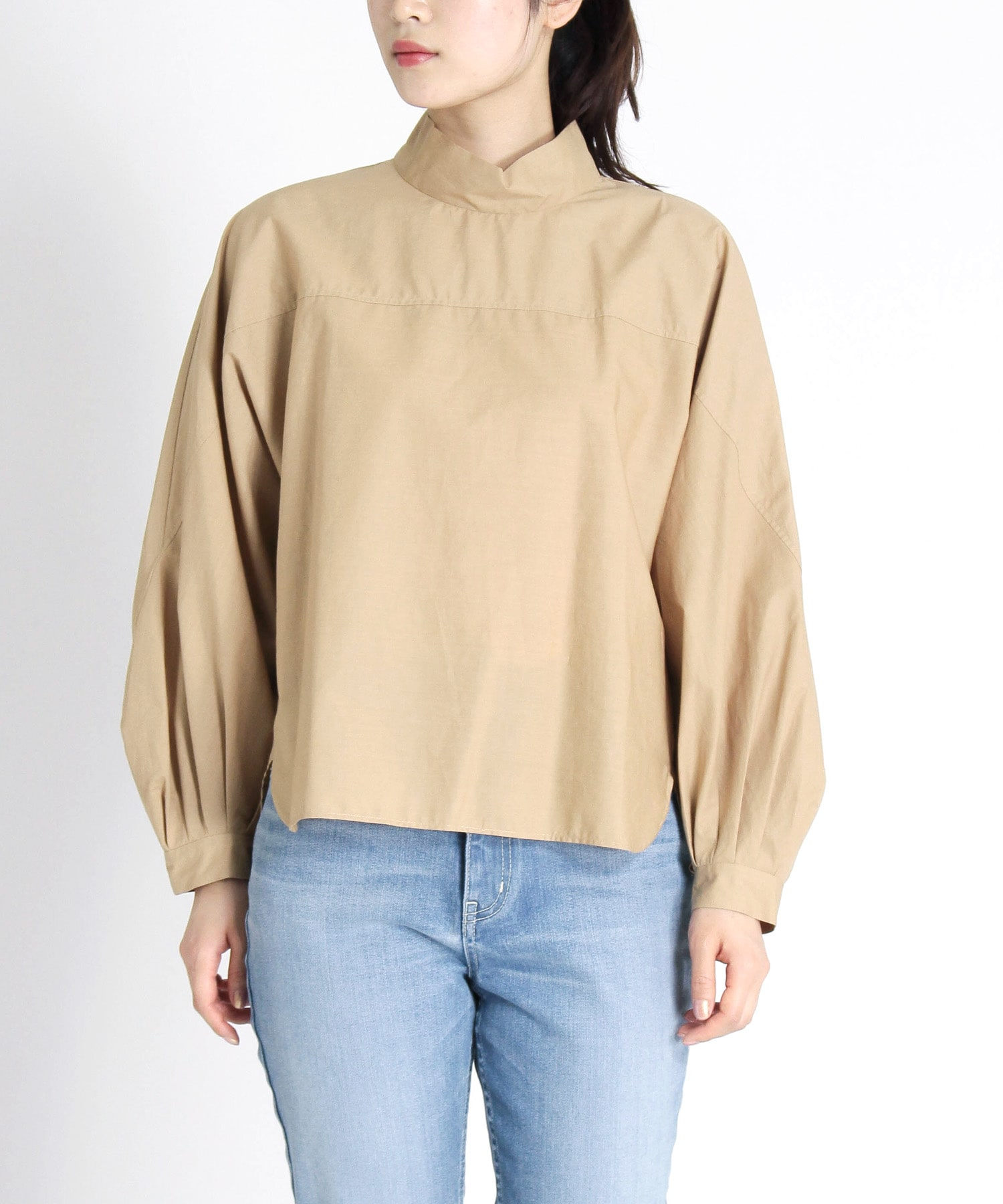 stand neck bolume sleeve blouse