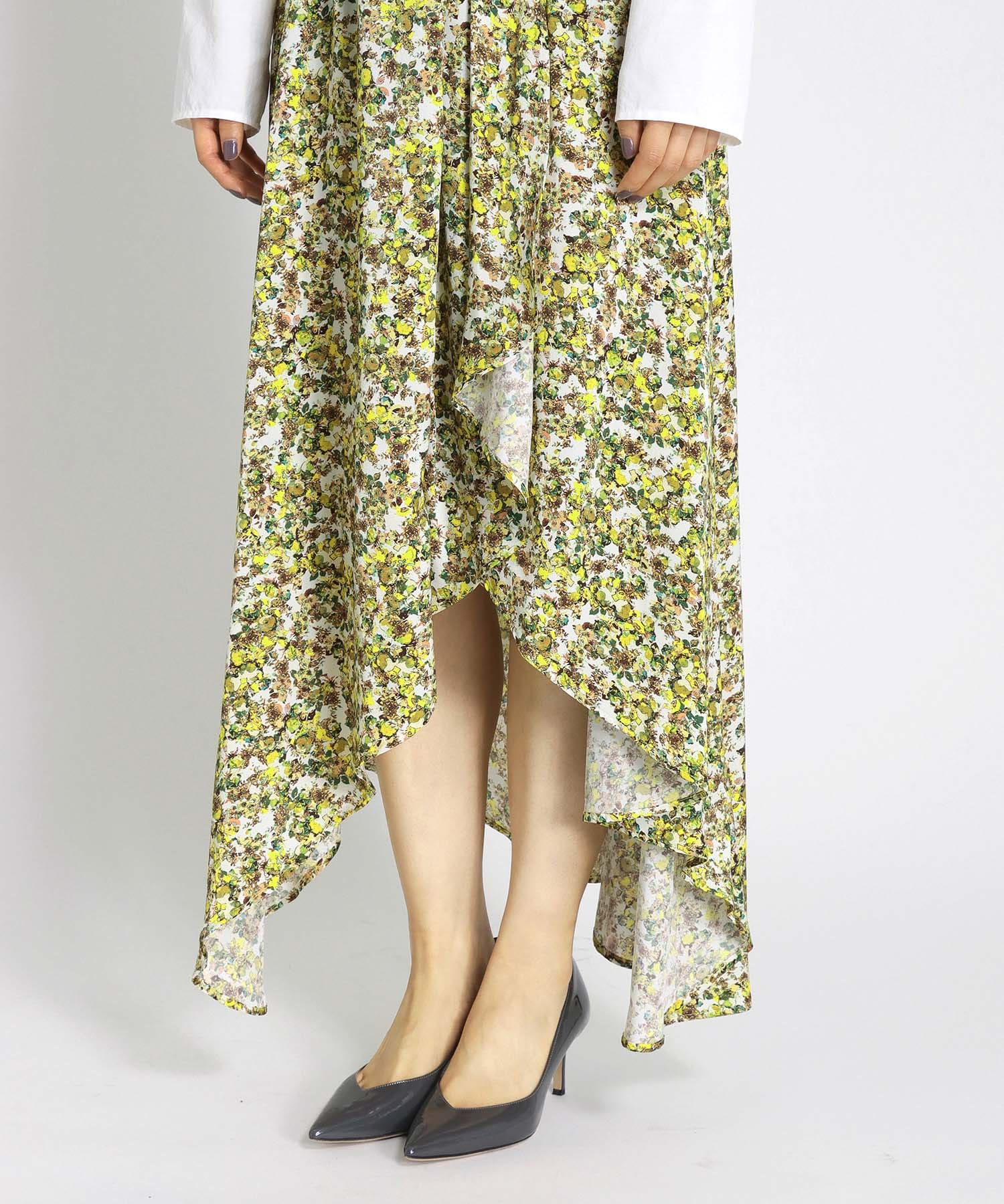 satin flower print feel up skirt
