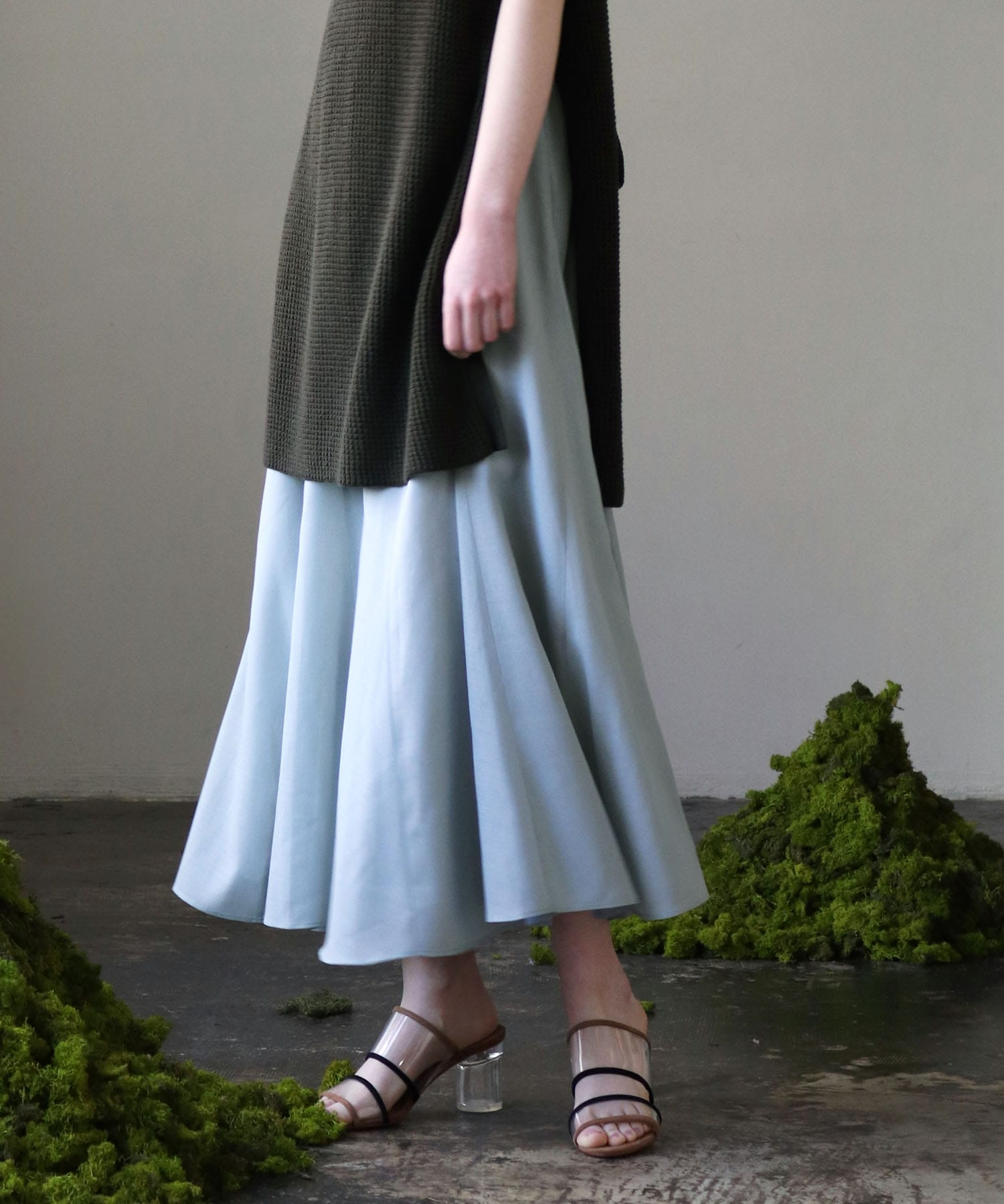 wool voile flare long skirt