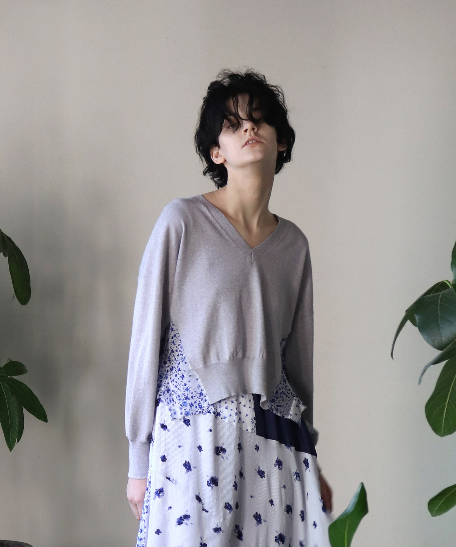 knit×cupra fabric v/n pull