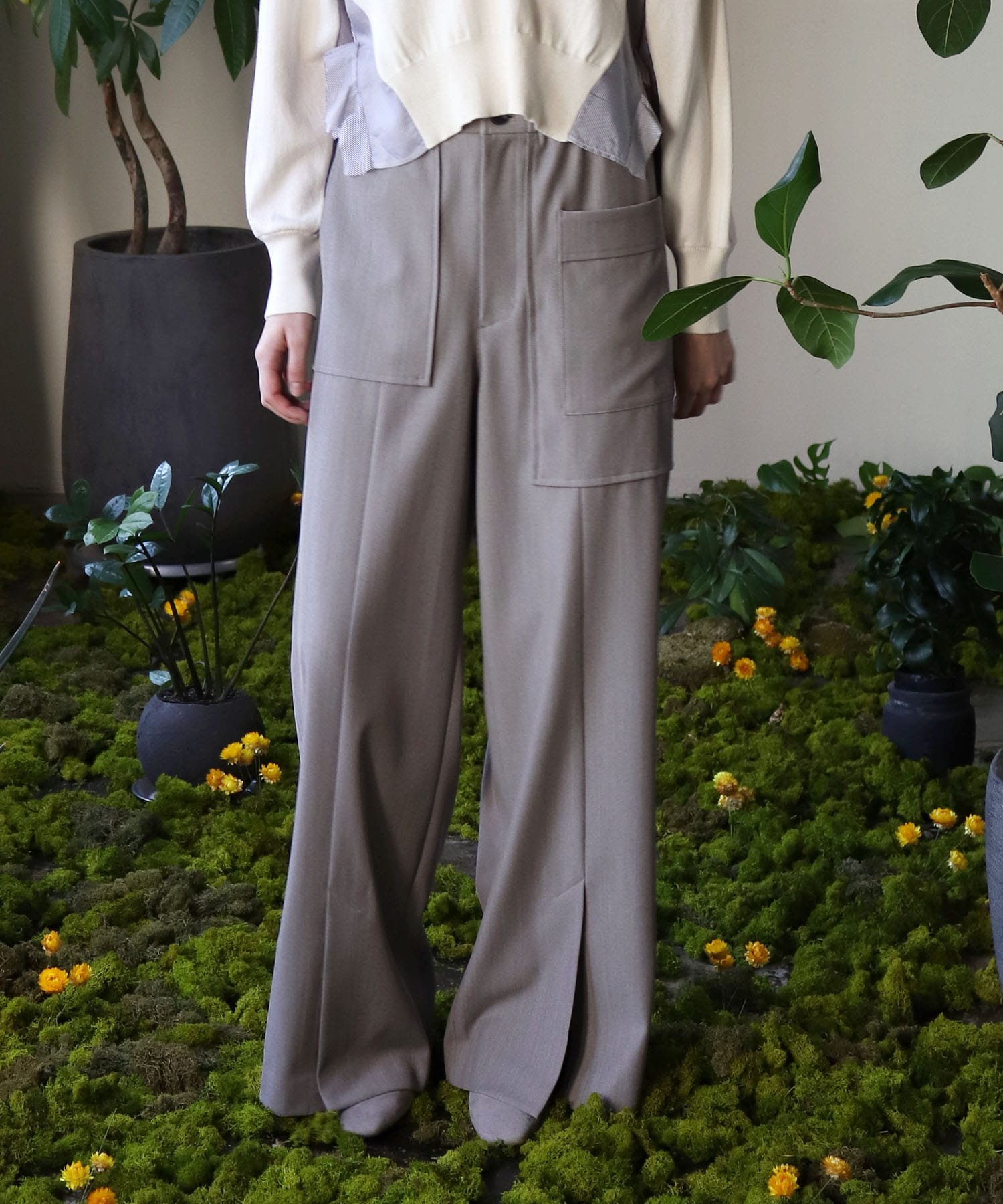 gaba work wide trousers