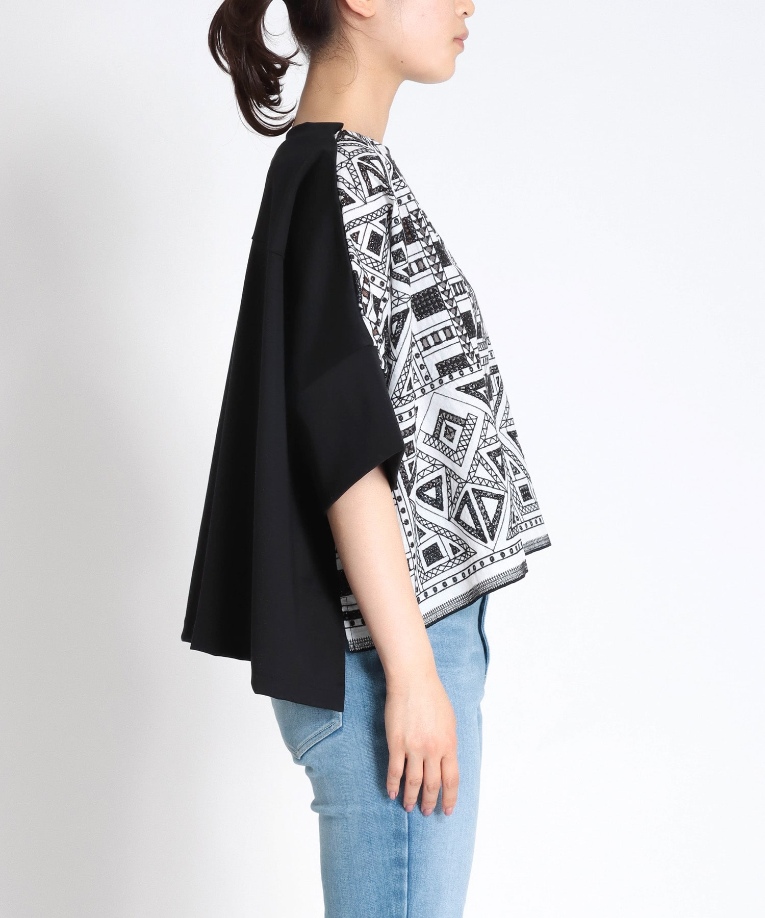 ethnic geometric lace tblouse