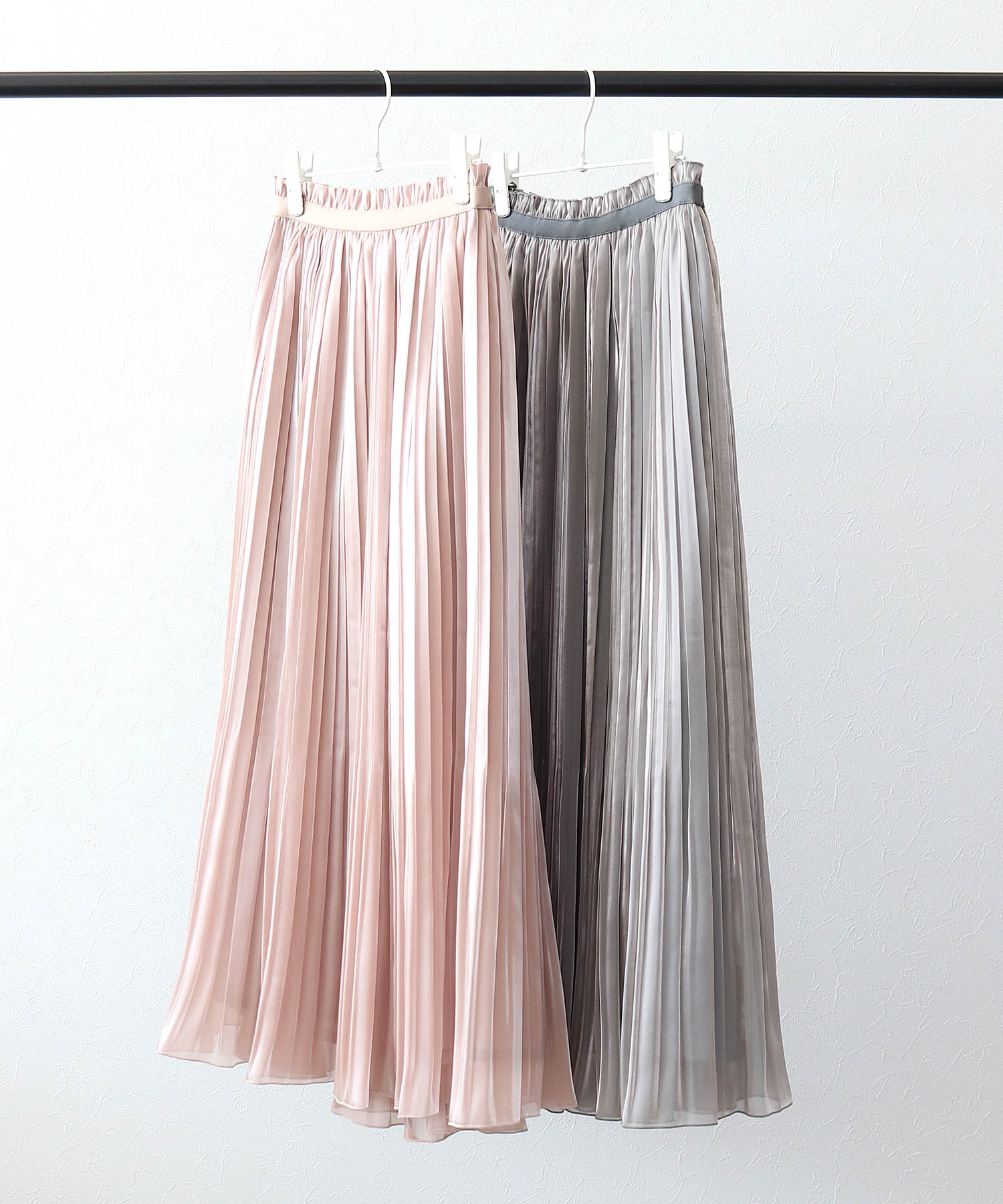 chambray satin pleats skirt