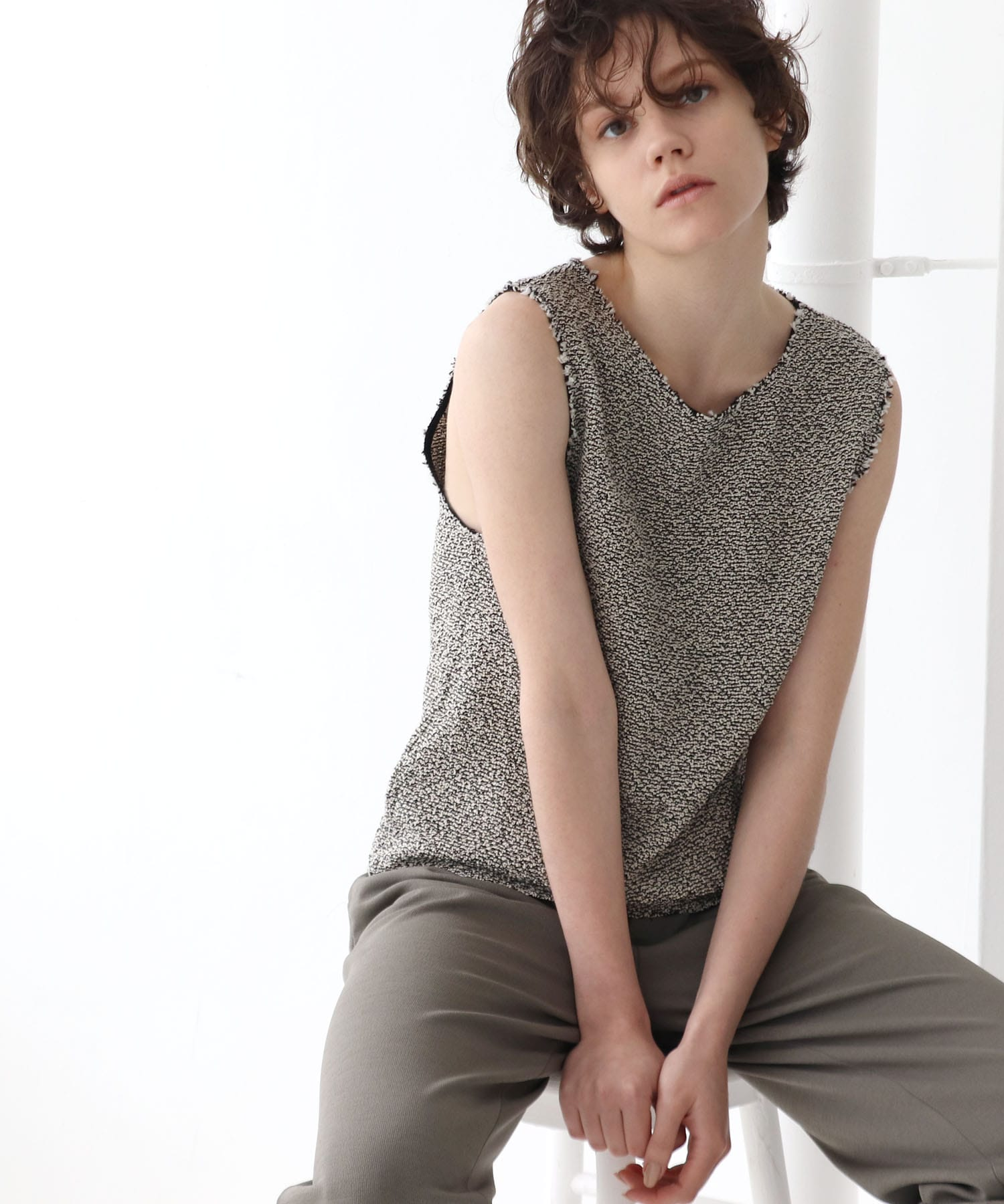 tweed knit tank