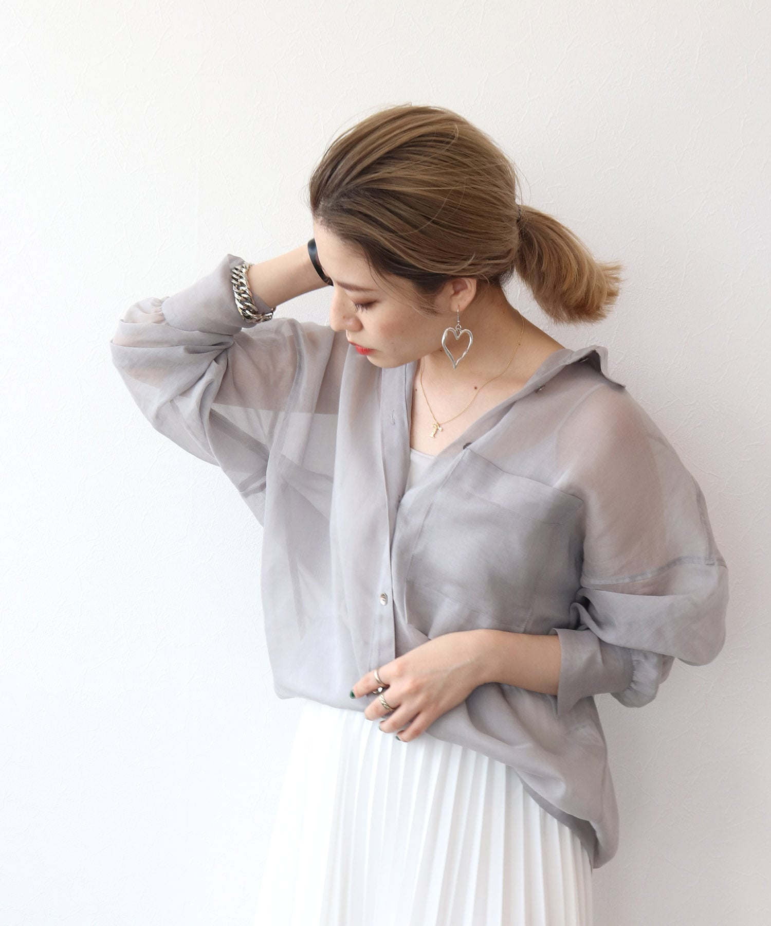 soft organdy sheer shirt