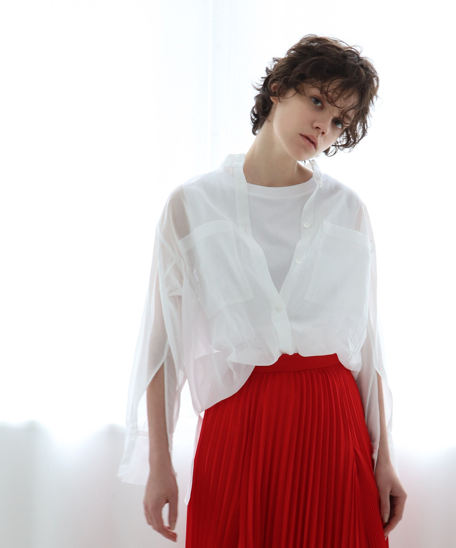 cotton organdy sheer shirt