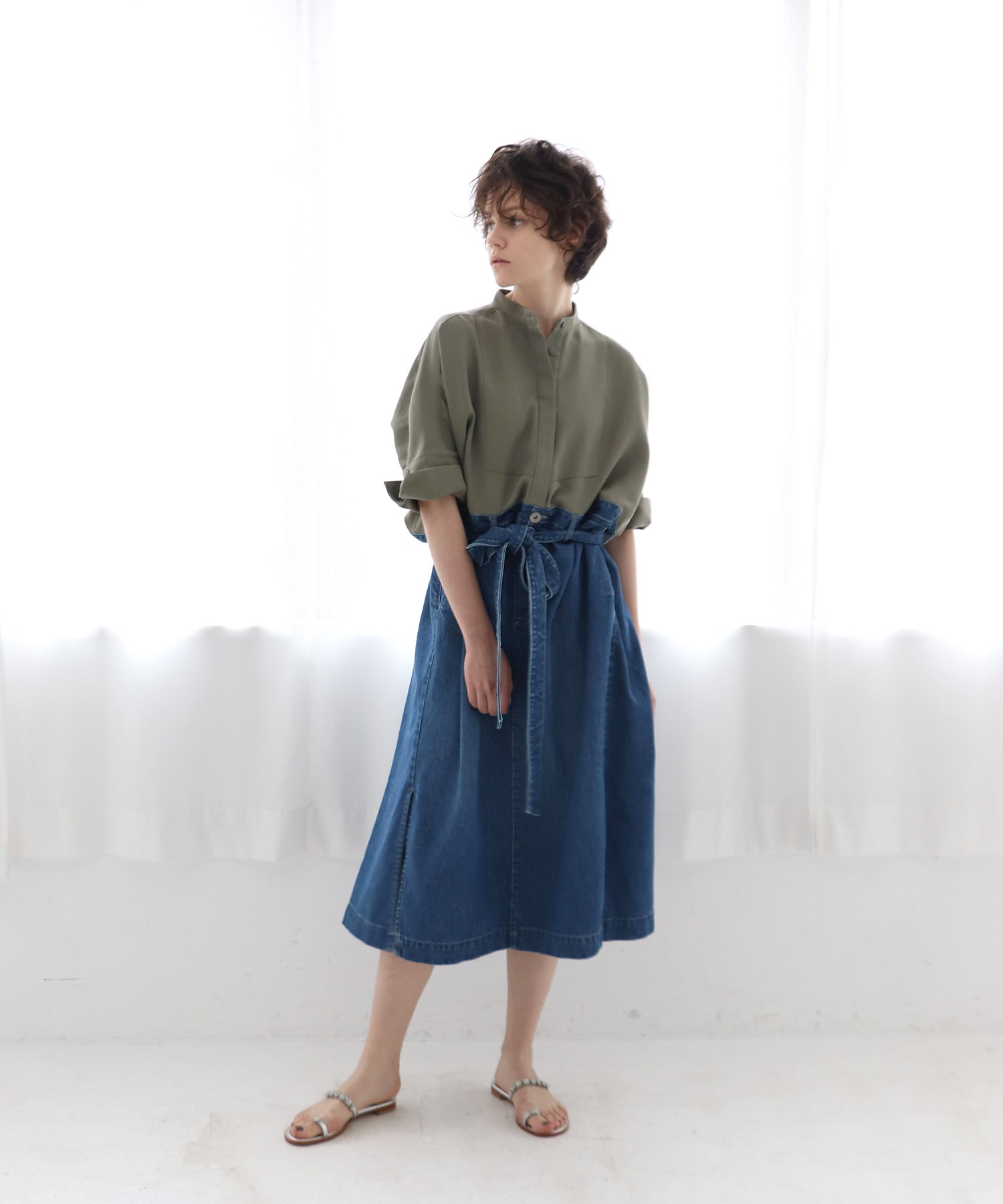 twill ×denim over size dress