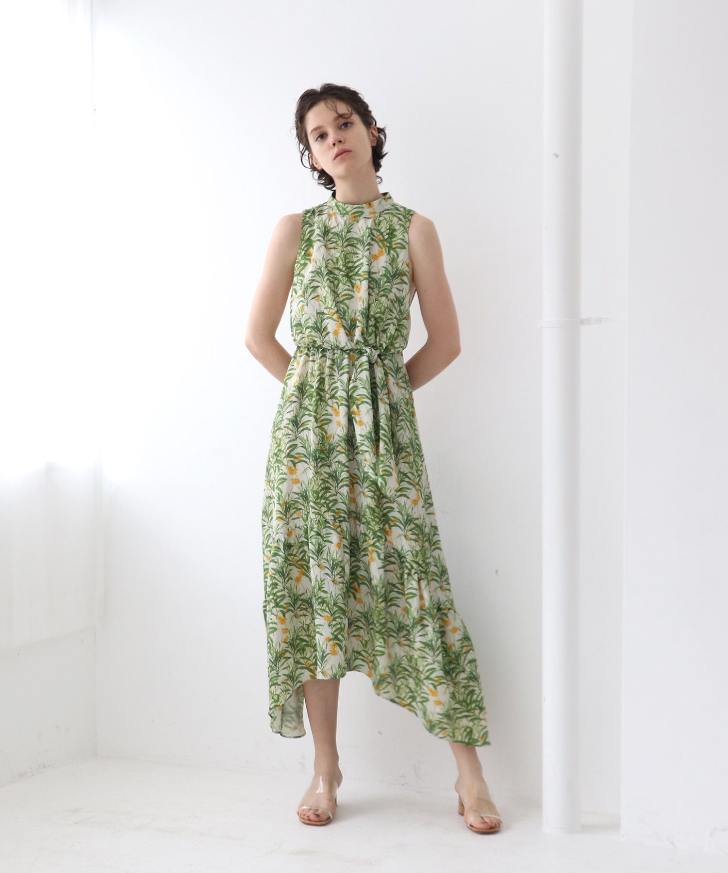 satin flower print long dress