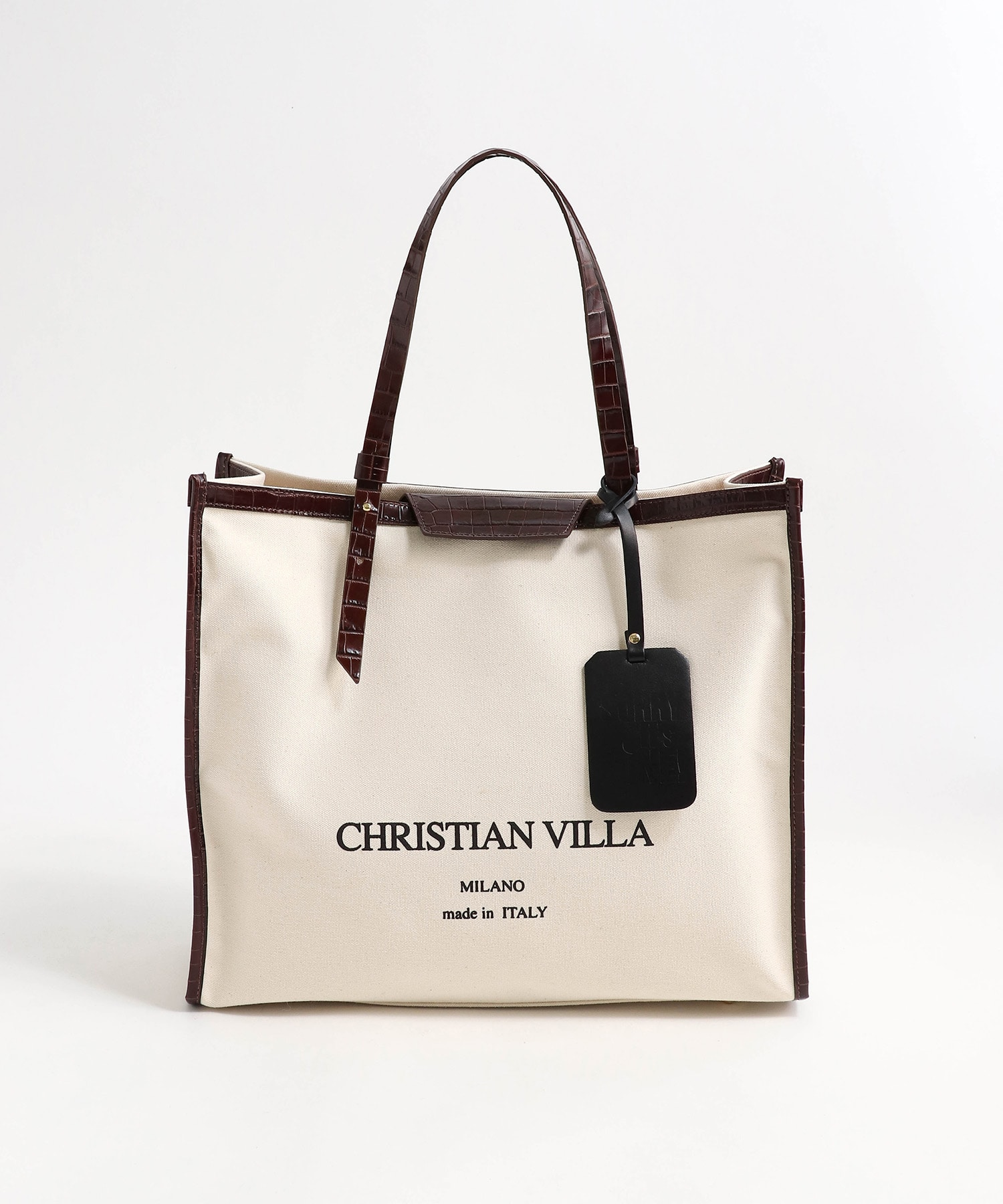 〈MORE4月号掲載〉【 CHRISTIAN VILLA / クリスチャン・ヴィラ 】chevron canbas toto bag L
